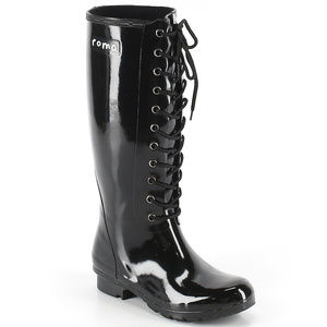 Roma Black Lace Up Rain Boots